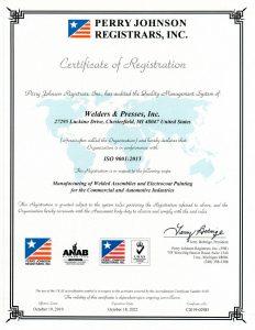 2019 WPI ISO Certification 9001 2015